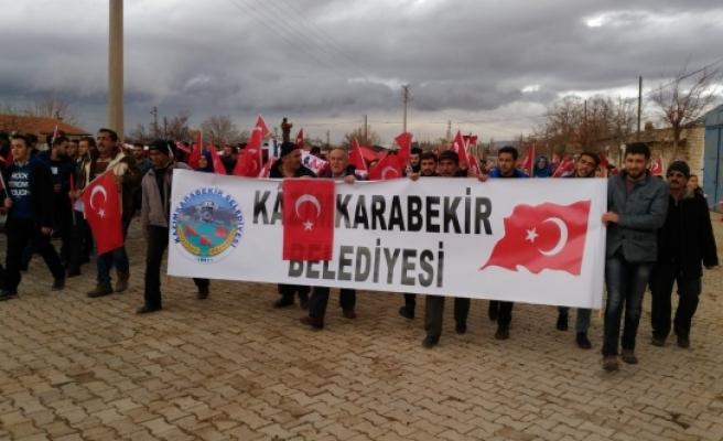 Kâzımkarabekir'de Şehitlere Saygı Yürüyüşü Yapıldı
