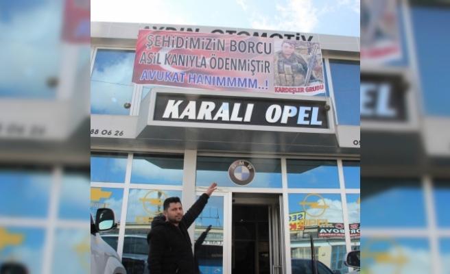 Yedek Parçacıdan Afrin Şehidini İcraya Veren Avukata Pankartlı Tepki