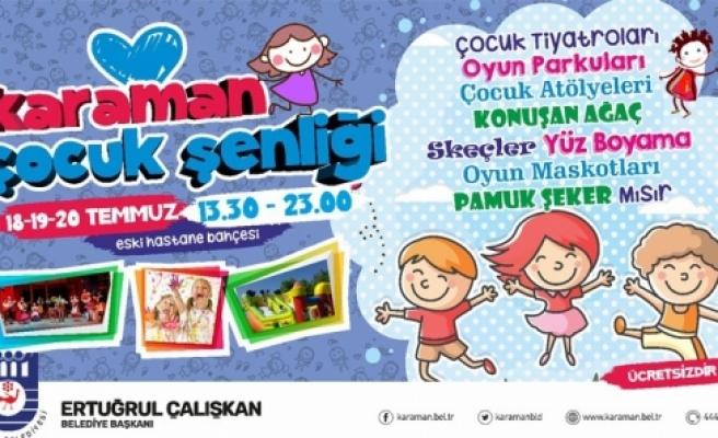 Karaman Belediyesi'nden Çocuk Şenliği