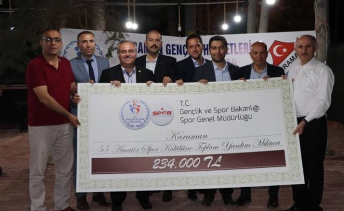 Karaman'da Amatör Spor Kulüplerine 234 Bin Liralık Destek