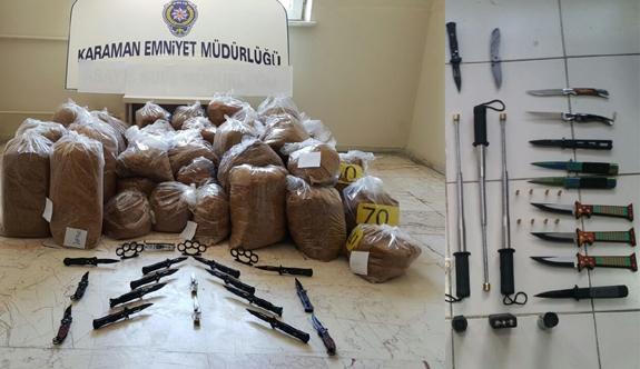 Karaman'da 324 Kilo Tütün İle 37 Sustalı Bıçak Ele Geçirildi