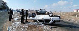 Kontrolden Çikan Otomobil Takla Atti: 1 Yarali