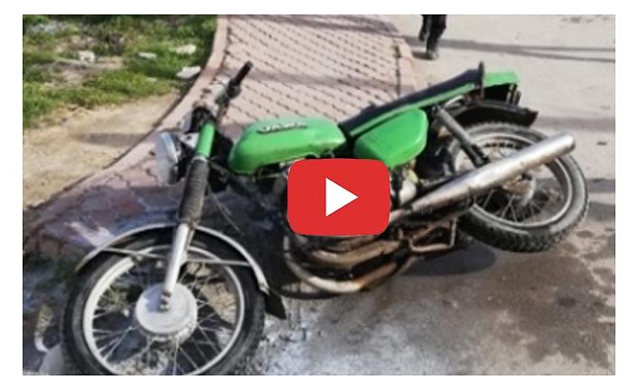 Sahibi Tarafından Ateşe Verilen Motosikleti Polis Söndürdü