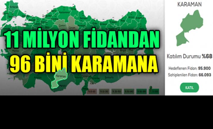11 Milyon Fidandan 96 Bini Karaman'a