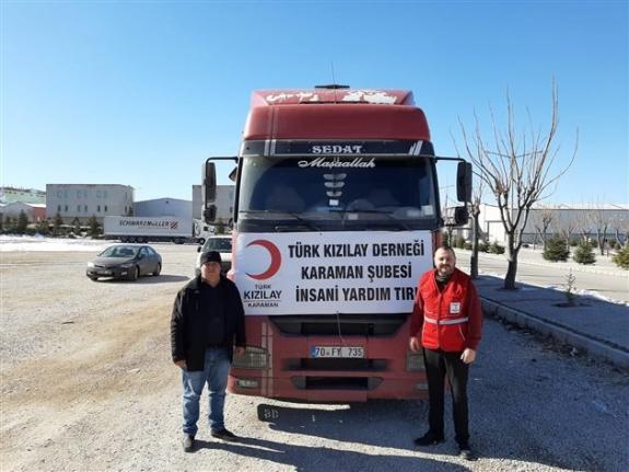 Karaman Kızılay Deprem Bölgesine Tır Gönderdi