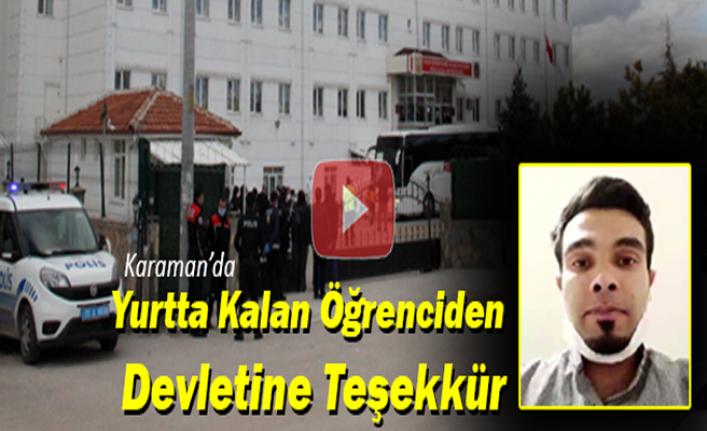 Karaman'da Yurtta Kalan Öğrenciden Devletine Teşekkür