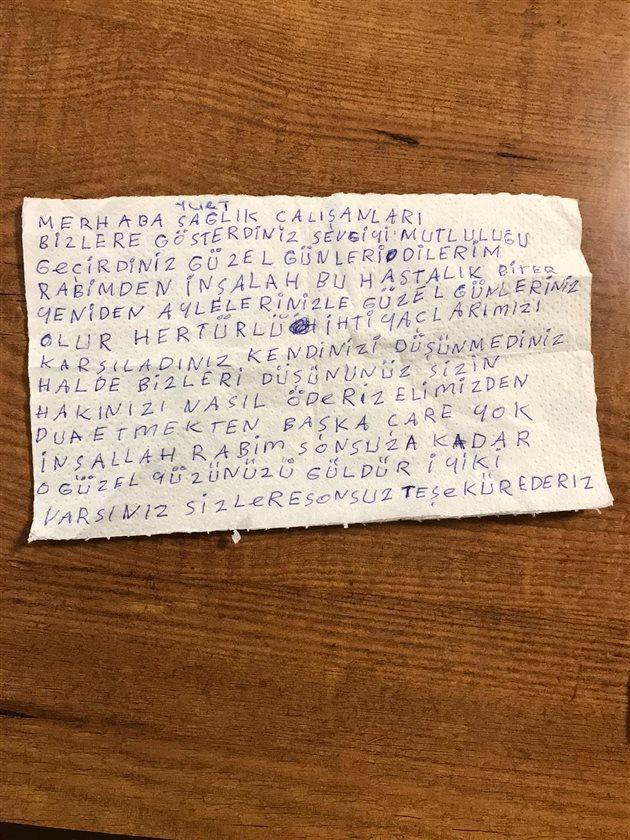 Karantina Altındaki Vatandaştan Personele Moral Mektubu