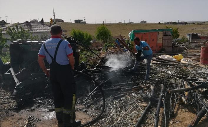Karaman'da Bir Bahçede Korkutan Yangın