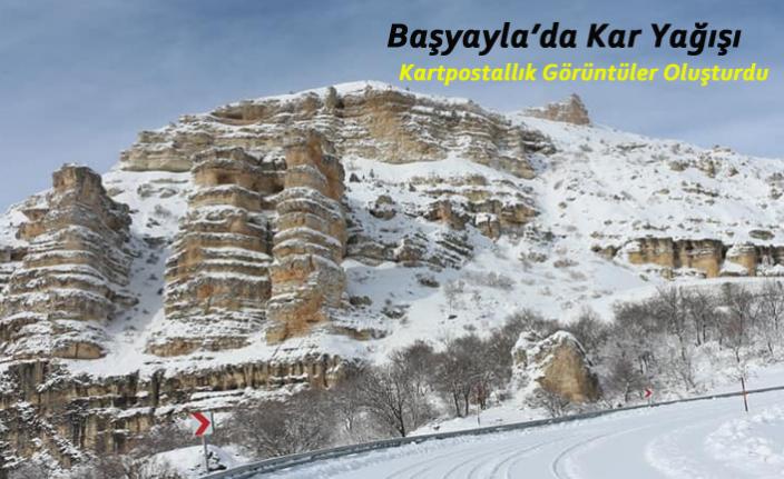 Karaman Başyayla'ya Yağan Kar, Kartpostallık Görüntüler Oluşturdu