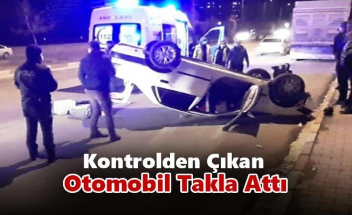 Karaman'da Kontrolden Çıkan Otomobil Takla Attı