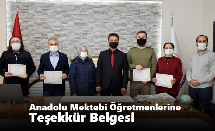 Anadolu Mektebi Öğretmenlerine Teşekkür Belgesi