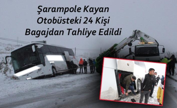 Şarampole Kayan Otobüsteki 24 Kişi Bagajdan Tahliye Edildi