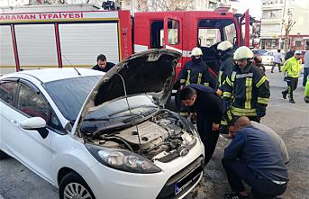 Karaman'da Otomobil Yangını Büyümeden Söndürüldü