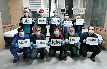Karaman'da Sağlık Çalışanlarından 'Evde kal' Mesajı