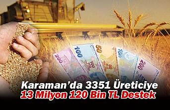 Karaman'da 3351 Üreticiye 13 Milyon 120 Bin TL Destek
