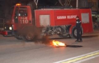 Karaman'da Yakılan Lastikler Polis Ve İtfaiyeyi...