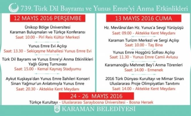739. Türk Dil Bayramı Ve Yunus Emre'yi Anma Etkinlikleri Başlıyor