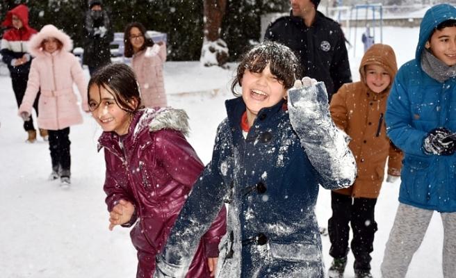 Öğrencileri Kar Sevincine Ortak Oldular