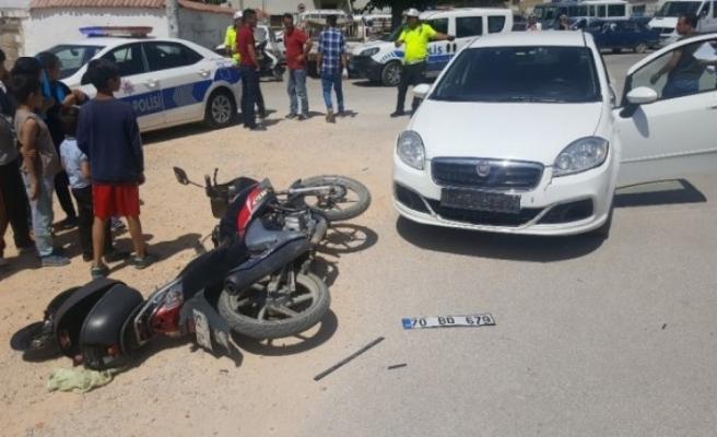 Otomobil İle Motorsiklet Çarpıştı:1 Yaralı