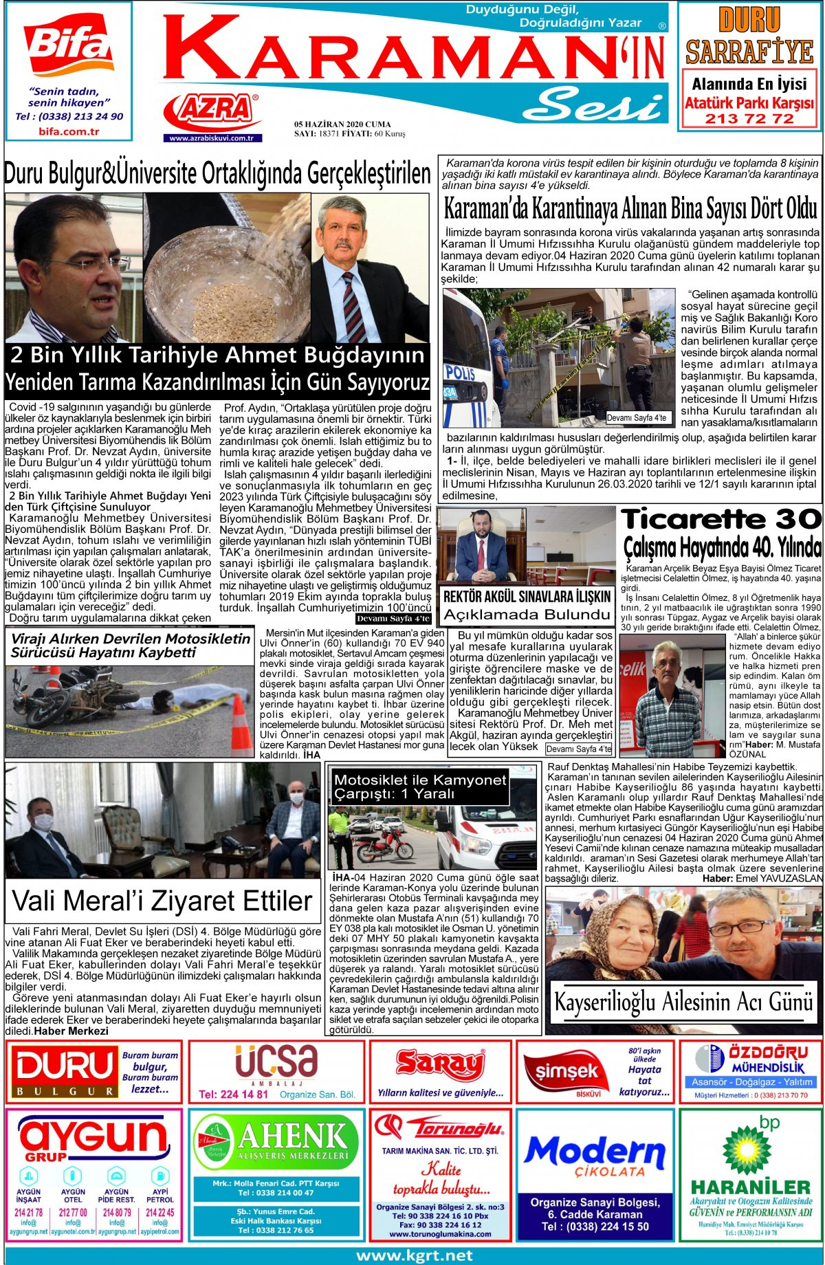 www.kgrt.net | Karaman Haber - 05.06.2020 Manşeti