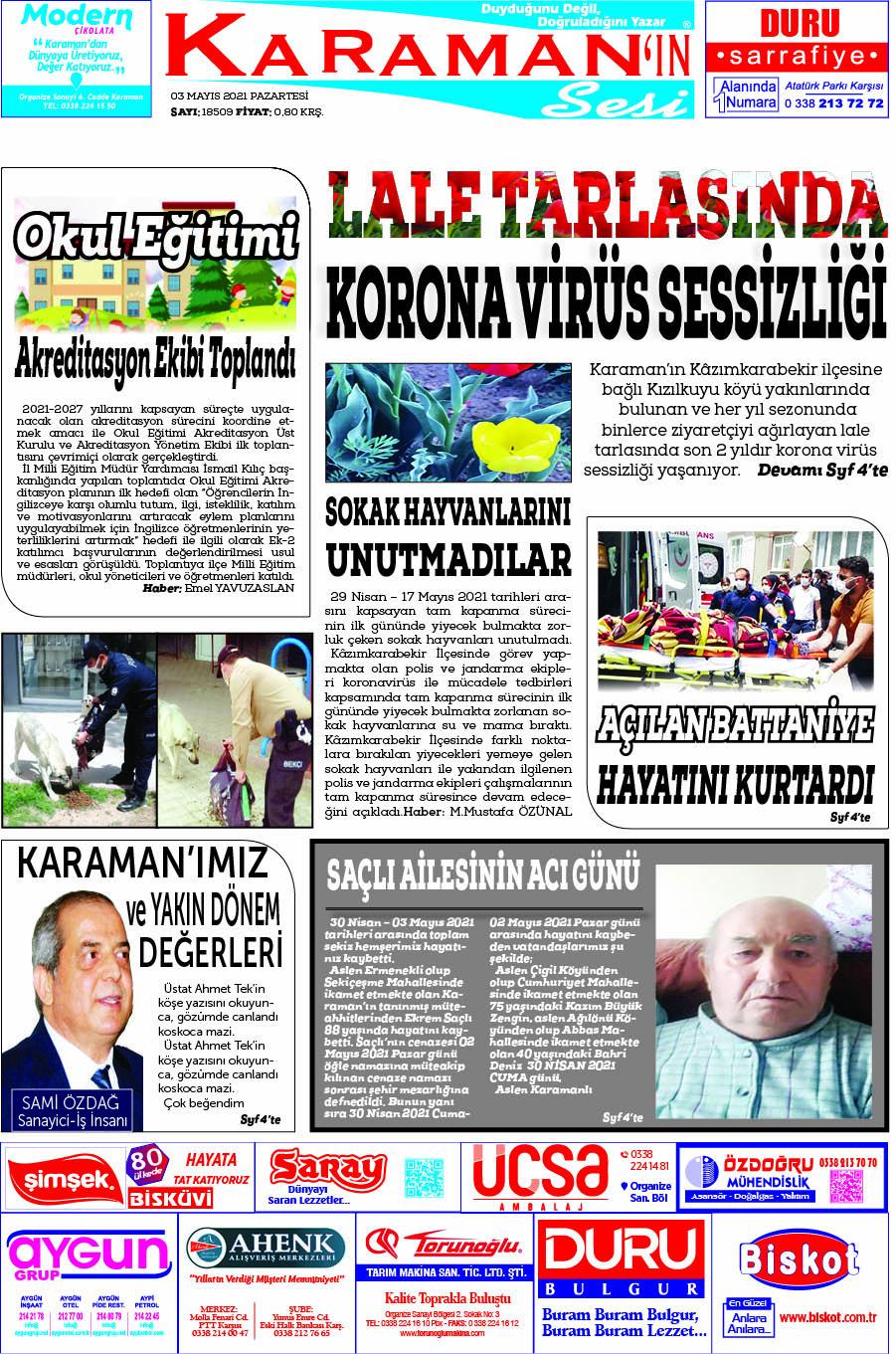 Karaman - Karaman Son Dakika Haberleri - Karaman Haber Karaman  - 03.05.2021 Manşeti