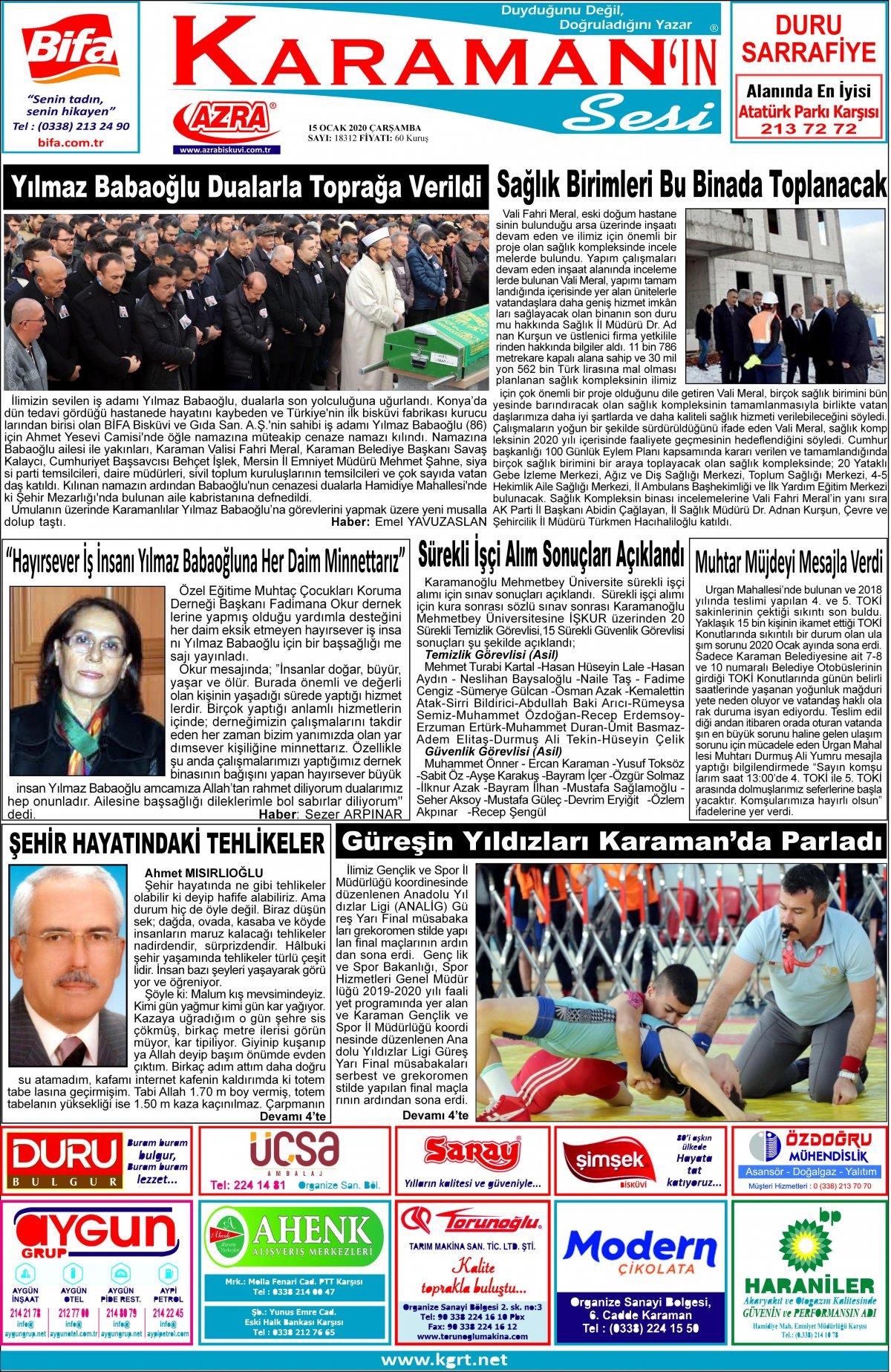 www.kgrt.net - 15.01.2020 Manşeti