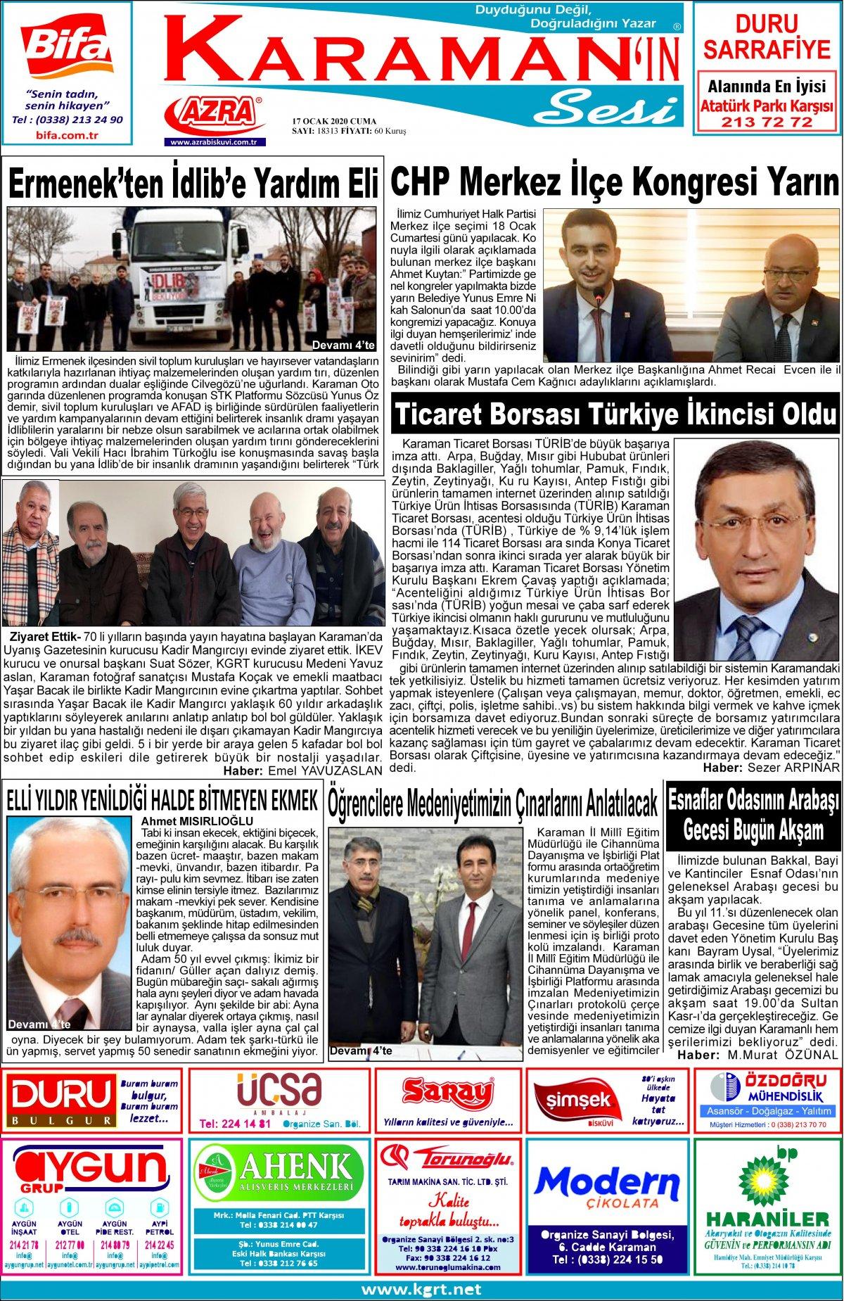 www.kgrt.net - 17.01.2020 Manşeti