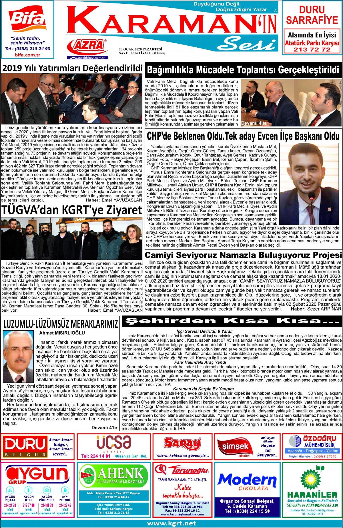 www.kgrt.net - 20.01.2020 Manşeti