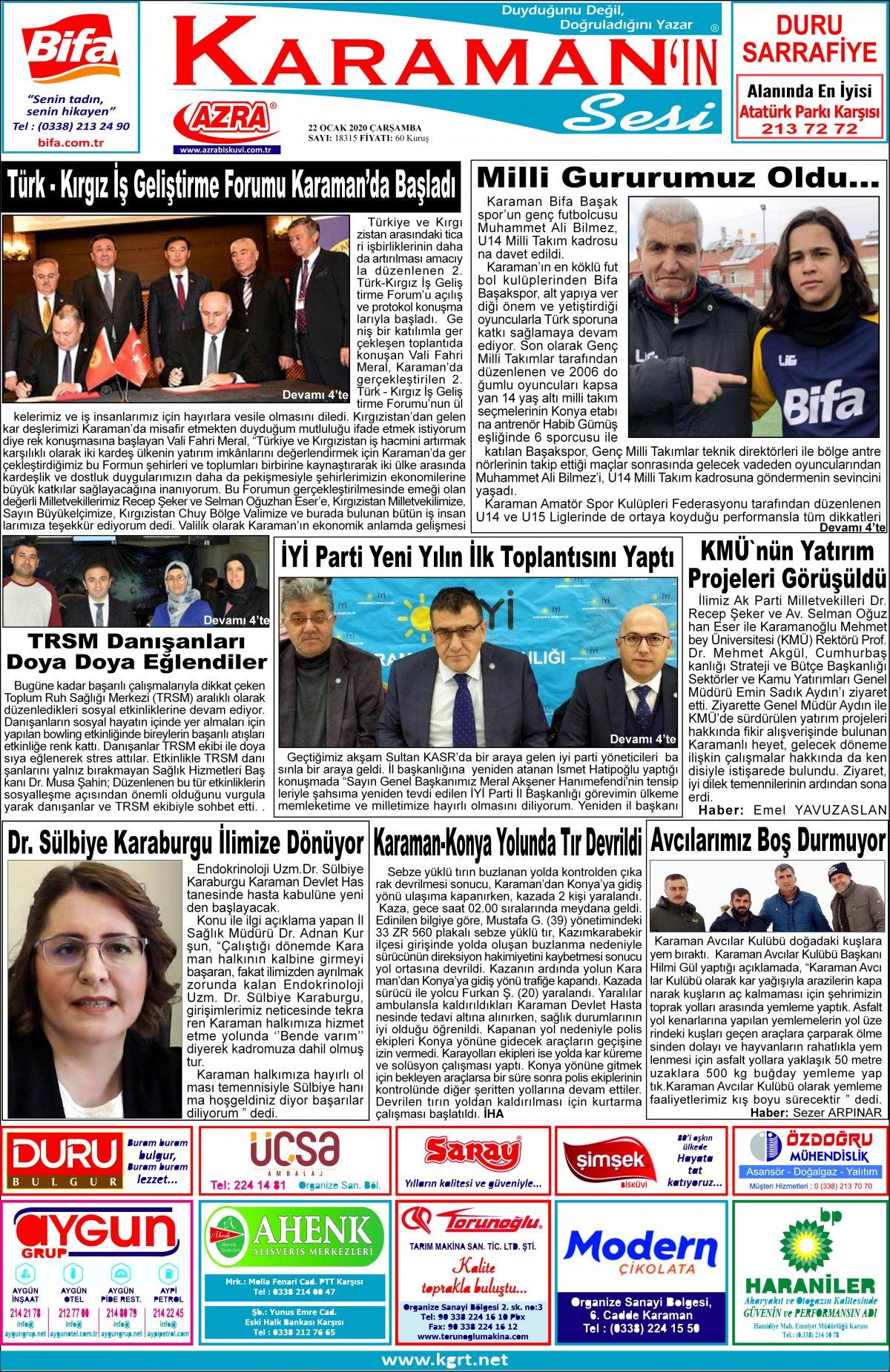 www.kgrt.net - 22.01.2020 Manşeti