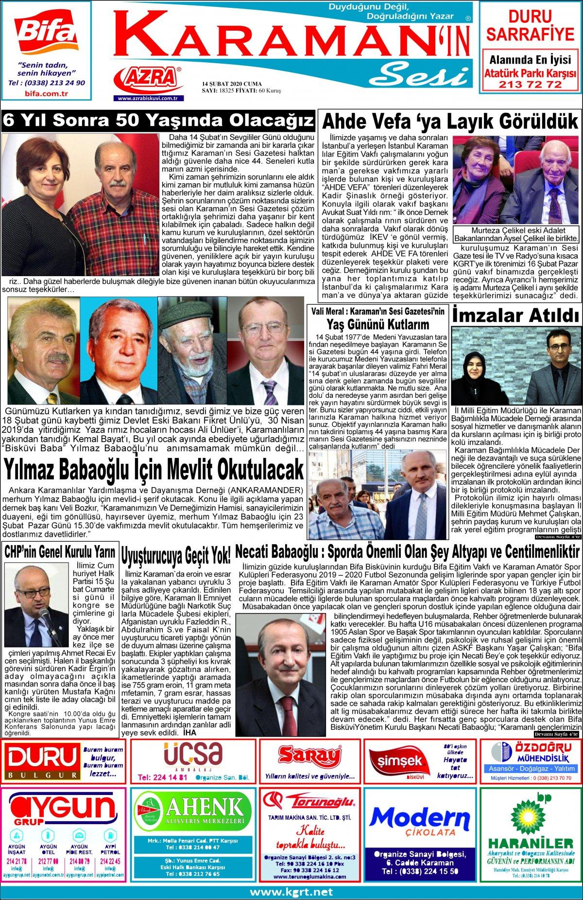 www.kgrt.net | Karaman Haber - 14.02.2020 Manşeti