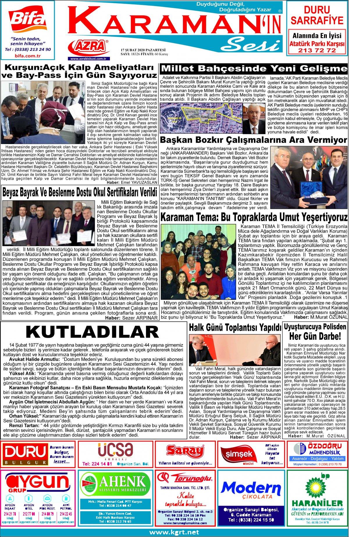www.kgrt.net | Karaman Haber - 17.02.2020 Manşeti