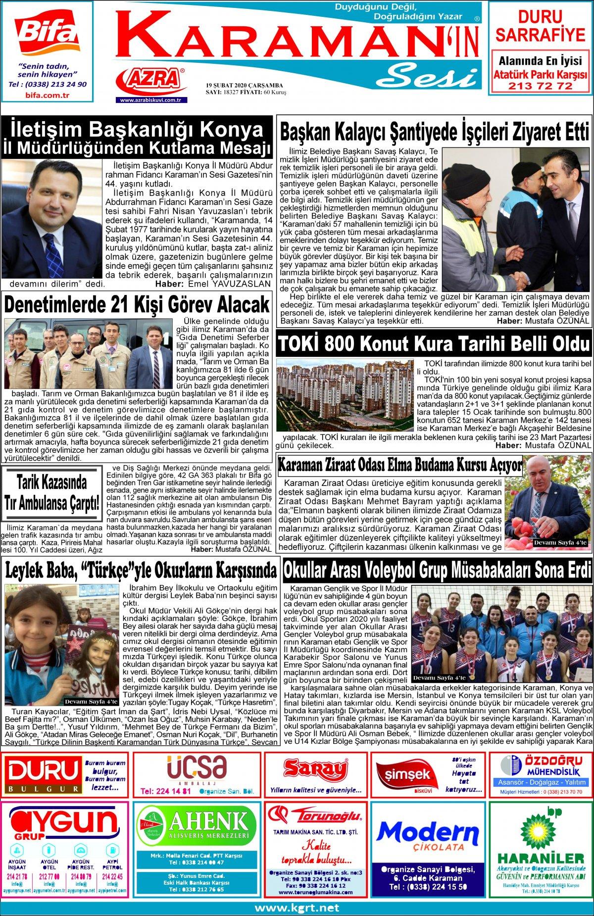 www.kgrt.net | Karaman Haber - 19.02.2020 Manşeti
