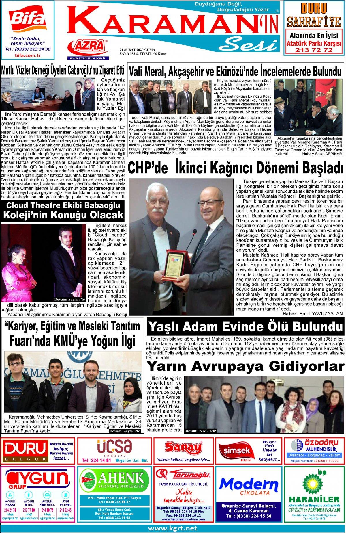 www.kgrt.net | Karaman Haber - 21.02.2020 Manşeti