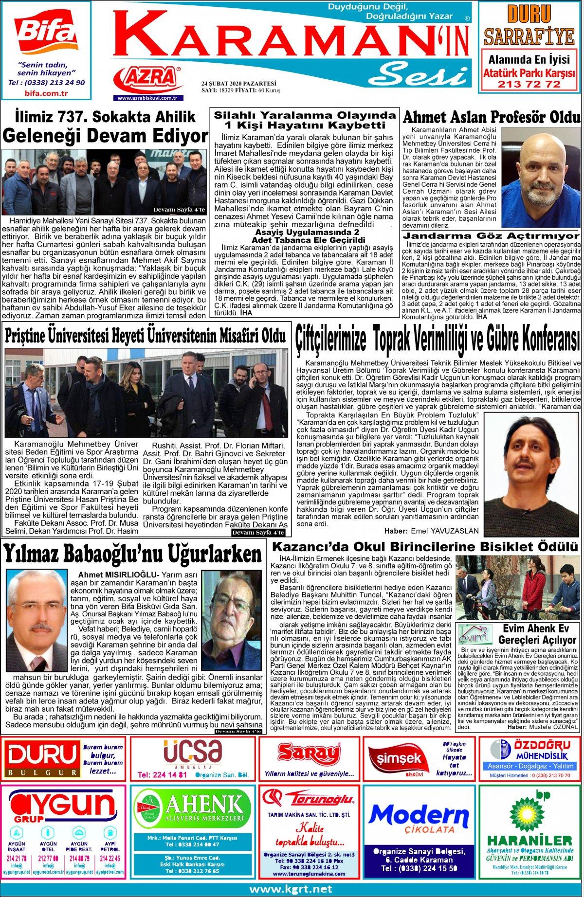 www.kgrt.net | Karaman Haber - 24.02.2020 Manşeti