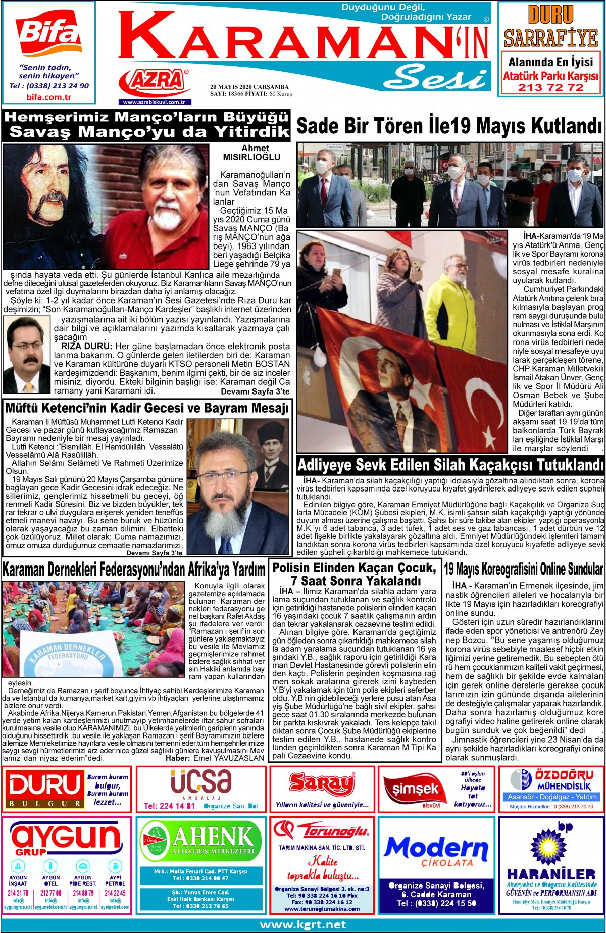 www.kgrt.net | Karaman Haber - 20.05.2020 Manşeti
