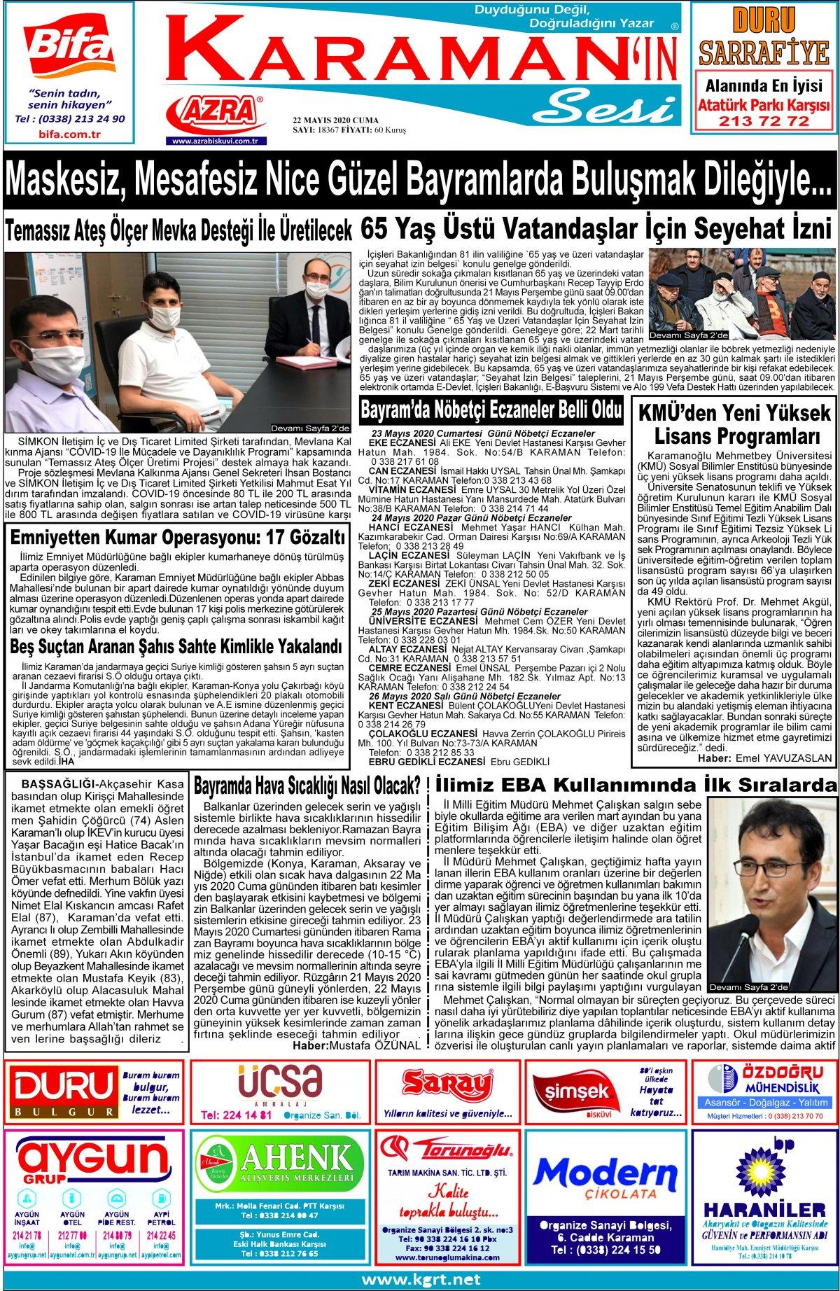 www.kgrt.net | Karaman Haber - 22.05.2020 Manşeti