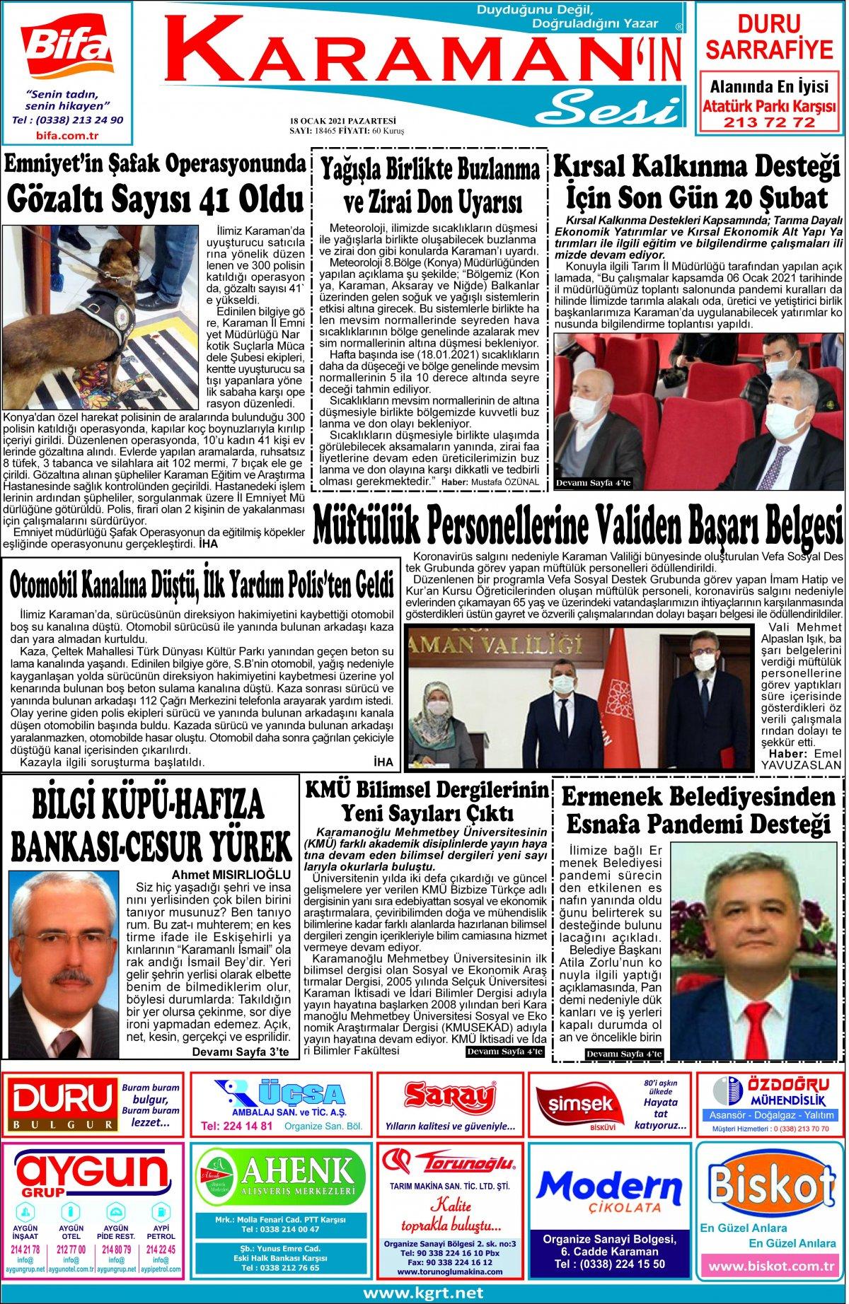 Karaman'ın Sesi | Karaman Haber|KGRT Karaman Haber - 18.01.2021 Manşeti