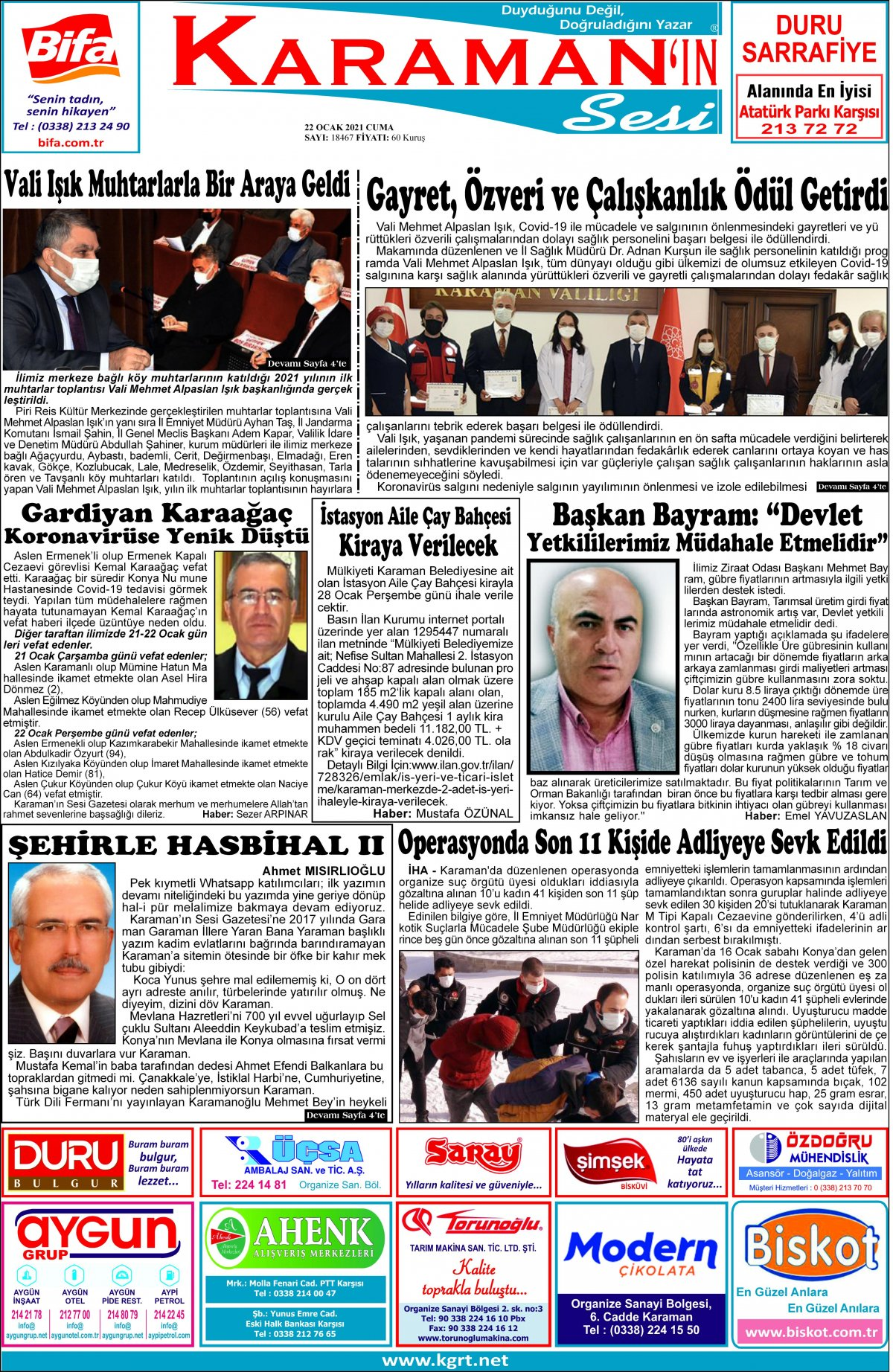 Karaman'ın Sesi | Karaman Haber|KGRT Karaman Haber - 22.01.2021 Manşeti