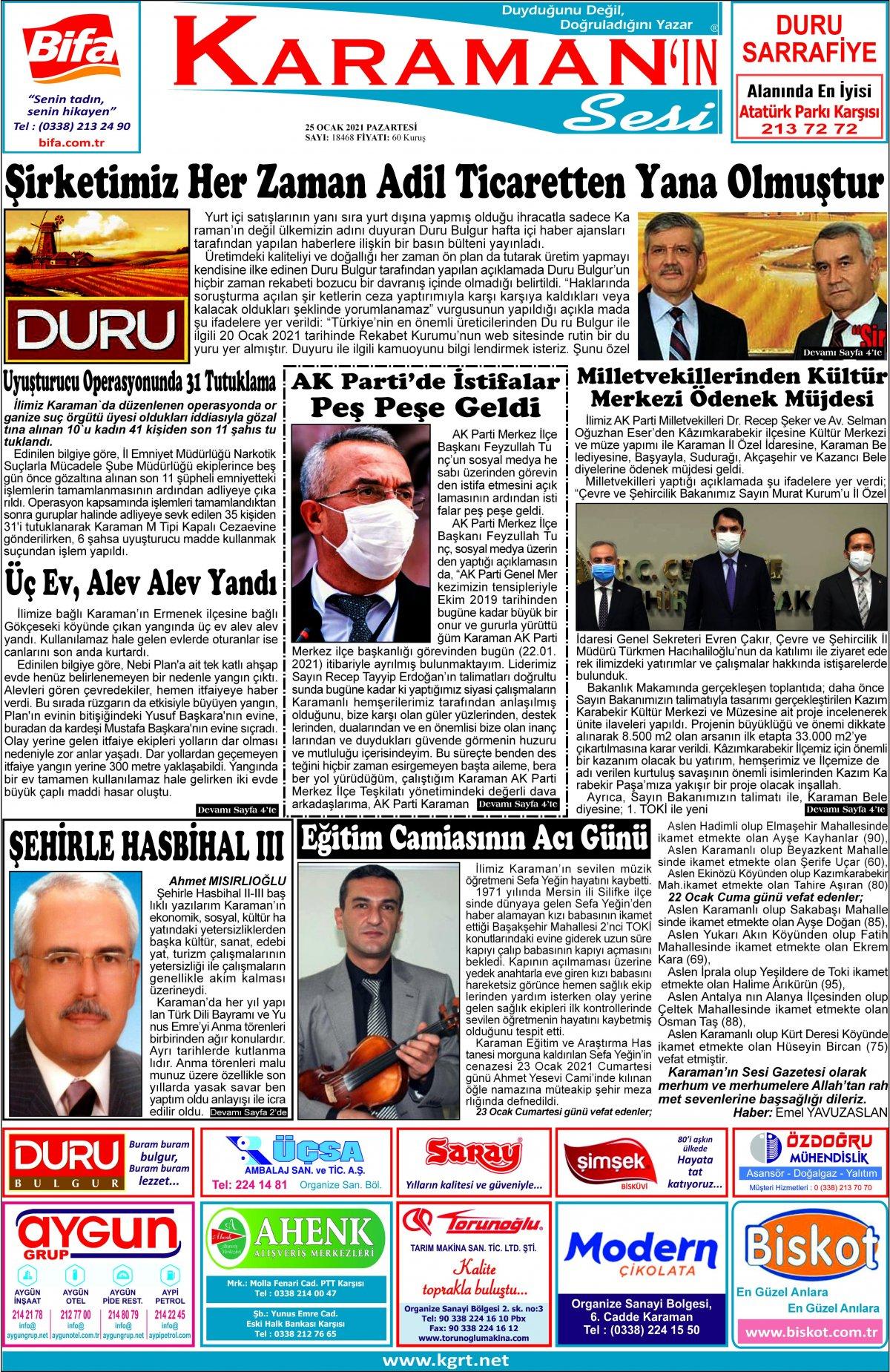Karaman'ın Sesi | Karaman Haber|KGRT Karaman Haber - 25.01.2021 Manşeti