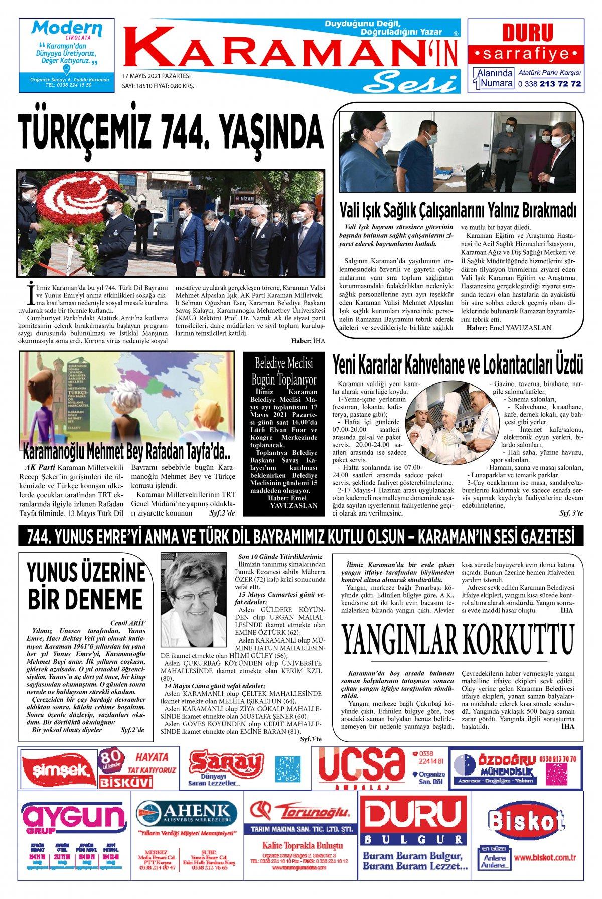 Karaman - Karaman Son Dakika Haberleri - Karaman Haber Karaman  - 17.05.2021 Manşeti