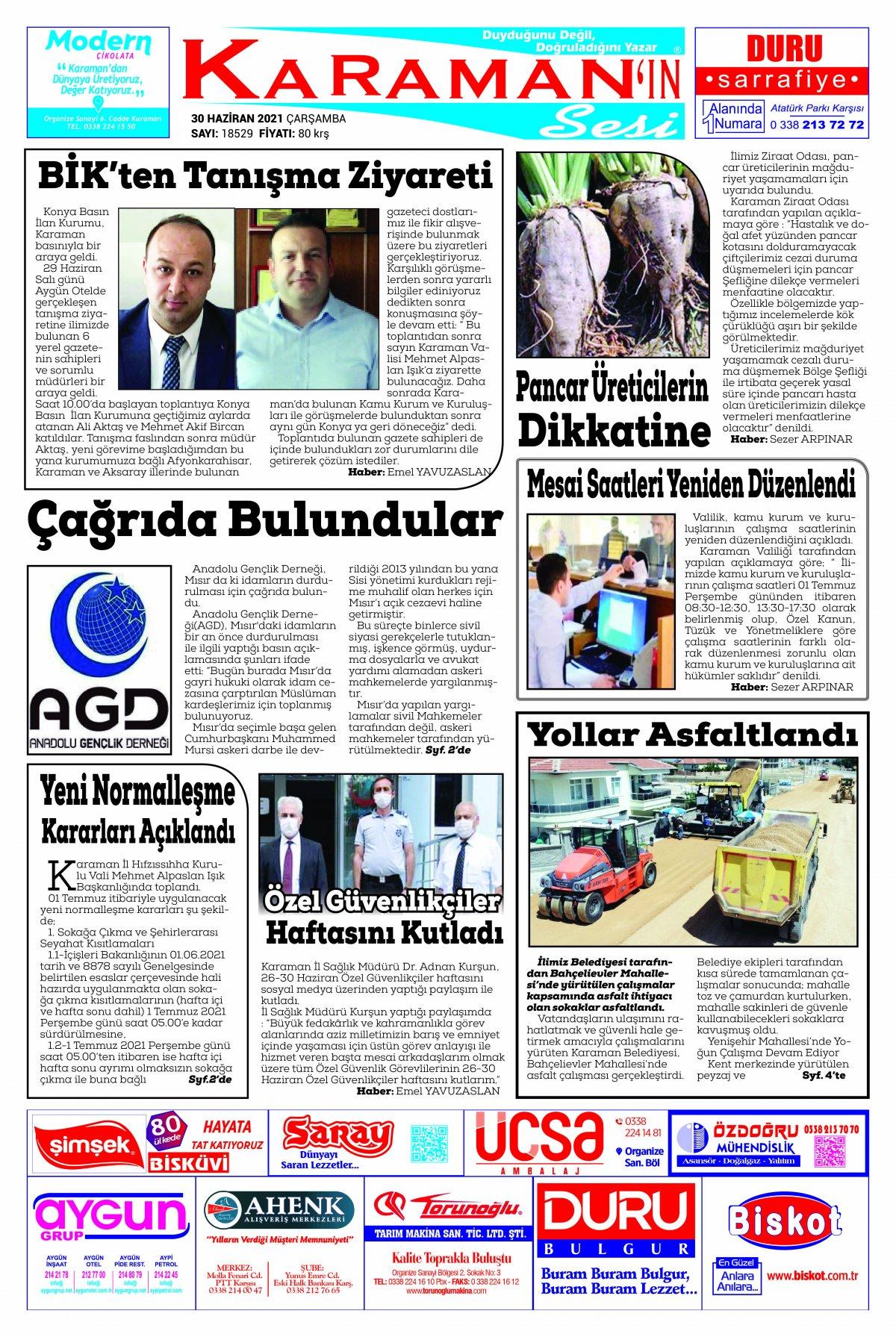 Karaman - Karaman Son Dakika Haberleri - Karaman Haber Karaman  - 30.06.2021 Manşeti